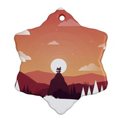 Design Art Hill Hut Landscape Ornament (snowflake)