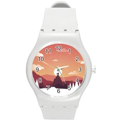 Design Art Hill Hut Landscape Round Plastic Sport Watch (m)