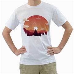 Design Art Hill Hut Landscape Men s T Shirt (white)