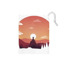 Design Art Hill Hut Landscape Drawstring Pouches (small)