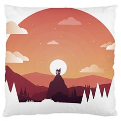 Design Art Hill Hut Landscape Standard Flano Cushion Case (one Side)