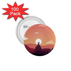 Design Art Hill Hut Landscape 1 75  Buttons (100 Pack)