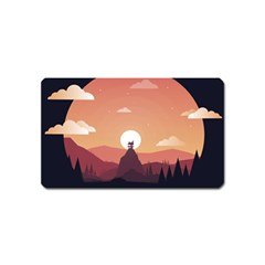 Design Art Hill Hut Landscape Magnet (name Card)