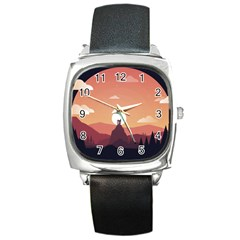 Design Art Hill Hut Landscape Square Metal Watch