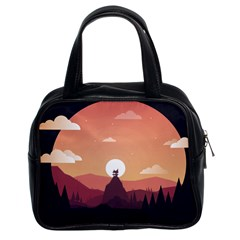 Design Art Hill Hut Landscape Classic Handbags (2 Sides)