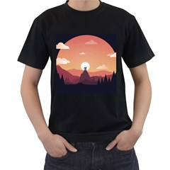 Design Art Hill Hut Landscape Men s T Shirt (black)