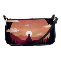 Design Art Hill Hut Landscape Shoulder Clutch Bags