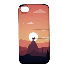 Design Art Hill Hut Landscape Apple Iphone 4/4s Hardshell Case With Stand