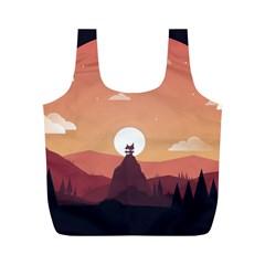 Design Art Hill Hut Landscape Full Print Recycle Bags (m)