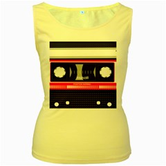 Compact Cassette Musicassette Mc Women s Yellow Tank Top