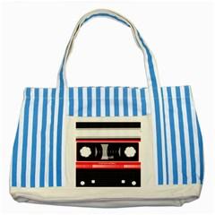 Compact Cassette Musicassette Mc Striped Blue Tote Bag