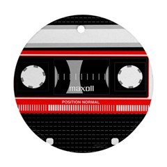 Compact Cassette Musicassette Mc Round Ornament (two Sides)