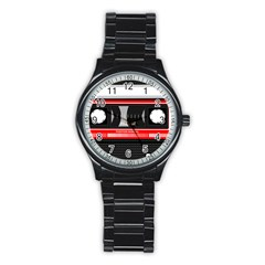 Compact Cassette Musicassette Mc Stainless Steel Round Watch