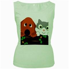 Baby Decoration Cat Dog Stuff Women s Green Tank Top