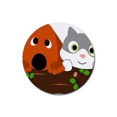 Baby Decoration Cat Dog Stuff Rubber Round Coaster (4 Pack)