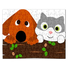 Baby Decoration Cat Dog Stuff Rectangular Jigsaw Puzzl by Nexatart
