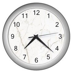 White Marble Tiles Rock Stone Statues Wall Clocks (silver)