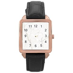 White Marble Tiles Rock Stone Statues Rose Gold Leather Watch