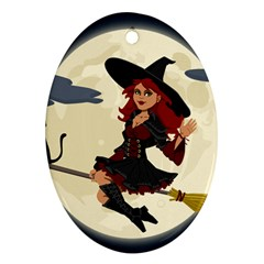 Witch Witchcraft Broomstick Broom Ornament (oval)