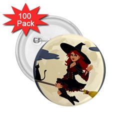 Witch Witchcraft Broomstick Broom 2 25  Buttons (100 Pack)