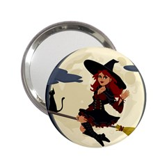 Witch Witchcraft Broomstick Broom 2 25  Handbag Mirrors