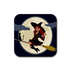 Witch Witchcraft Broomstick Broom Rubber Square Coaster (4 Pack)