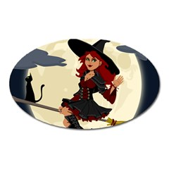 Witch Witchcraft Broomstick Broom Oval Magnet