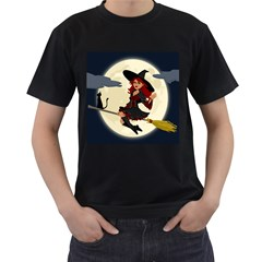 Witch Witchcraft Broomstick Broom Men s T Shirt (black) (two Sided)