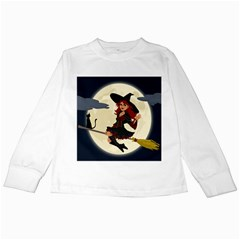 Witch Witchcraft Broomstick Broom Kids Long Sleeve T Shirts