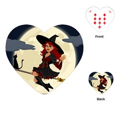 Witch Witchcraft Broomstick Broom Playing Cards (heart)