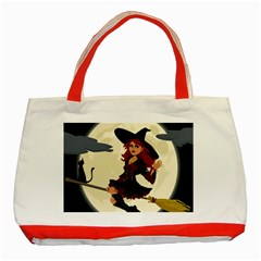 Witch Witchcraft Broomstick Broom Classic Tote Bag (red)