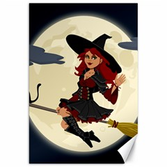 Witch Witchcraft Broomstick Broom Canvas 20  X 30