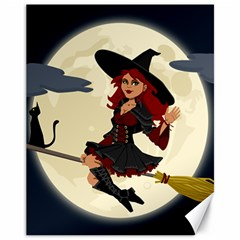 Witch Witchcraft Broomstick Broom Canvas 11  X 14