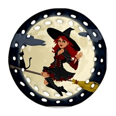 Witch Witchcraft Broomstick Broom Round Filigree Ornament (two Sides)
