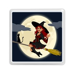 Witch Witchcraft Broomstick Broom Memory Card Reader (square)