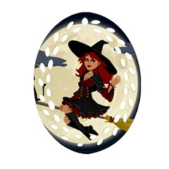 Witch Witchcraft Broomstick Broom Oval Filigree Ornament (two Sides)
