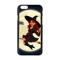 Witch Witchcraft Broomstick Broom Apple Iphone 6/6s Black Enamel Case by Nexatart