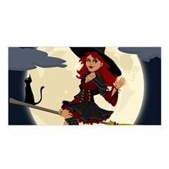 Witch Witchcraft Broomstick Broom Satin Shawl