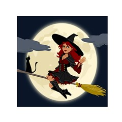 Witch Witchcraft Broomstick Broom Small Satin Scarf (square)