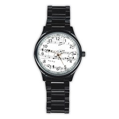 Abuse Background Monochrome My Bits Stainless Steel Round Watch