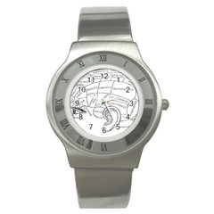 Brain Chart Diagram Face Fringe Stainless Steel Watch