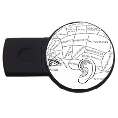 Brain Chart Diagram Face Fringe Usb Flash Drive Round (4 Gb)