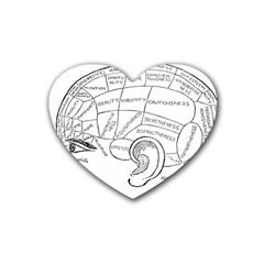Brain Chart Diagram Face Fringe Rubber Coaster (heart)