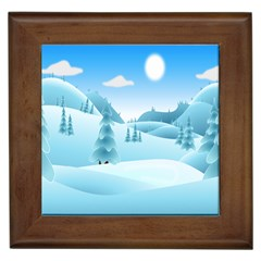 Landscape Winter Ice Cold Xmas Framed Tiles