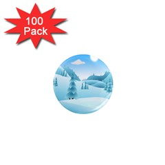 Landscape Winter Ice Cold Xmas 1  Mini Magnets (100 Pack)