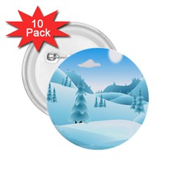 Landscape Winter Ice Cold Xmas 2 25  Buttons (10 Pack)