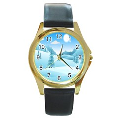Landscape Winter Ice Cold Xmas Round Gold Metal Watch