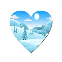 Landscape Winter Ice Cold Xmas Heart Magnet