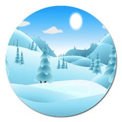 Landscape Winter Ice Cold Xmas Magnet 5  (round)