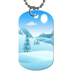 Landscape Winter Ice Cold Xmas Dog Tag (one Side)